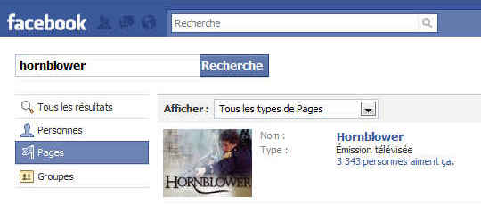 Hornblower sur Facebook